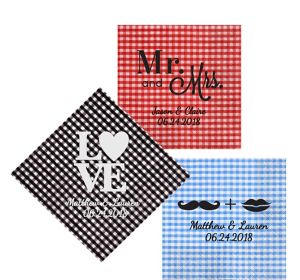 Personalized Wedding Gingham Lunch Napkins
