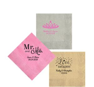 Personalized Wedding Moire Beverage Napkins