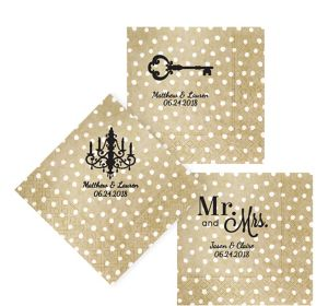 Personalized Wedding Small Dots Lunch Napkins
