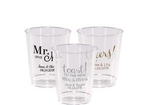 Personalized Wedding Hard Plastic Cups 8oz