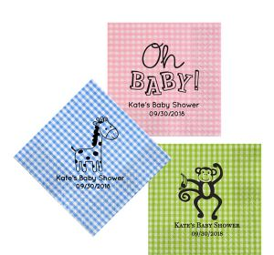 Personalized Baby Shower Gingham Lunch Napkins