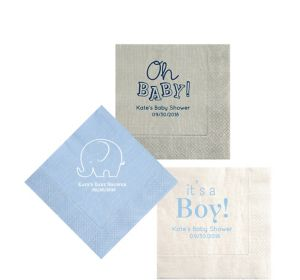 Personalized Baby Shower Moire Beverage Napkins