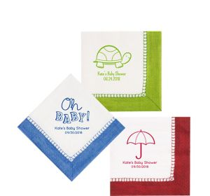 Personalized Baby Shower Bordered Beverage Napkins
