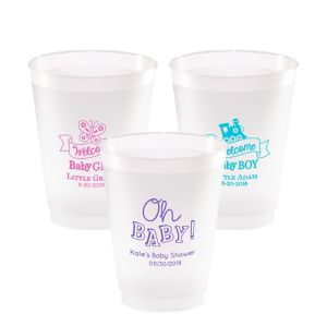 Personalized Baby Shower Frosted Plastic Shatterproof Cups 16oz