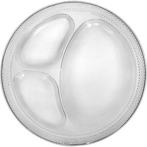 Big Party Pack Clear Plastic Divided Dinner Plates 50ct