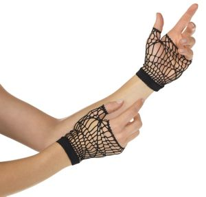 Adult Black Web Fingerless Gloves