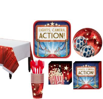 Hollywood Movie Night Tableware Kit for 16 Guests