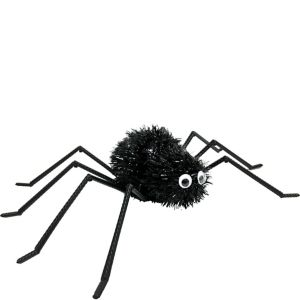 Tinsel Black Spider Decoration