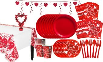 Be Mine Valentine's Day Tableware Kit for 16 Guests