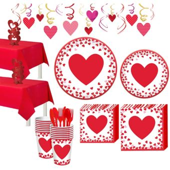 Confetti Hearts Valentine's Day Tableware Kit for 16 Guests
