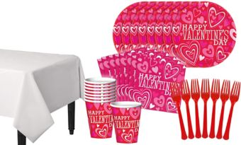 Bright Valentine's Day Classroom Tableware Kit for 32 Guests
