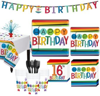 Rainbow 16th Birthday Party Kit for 32 Guests