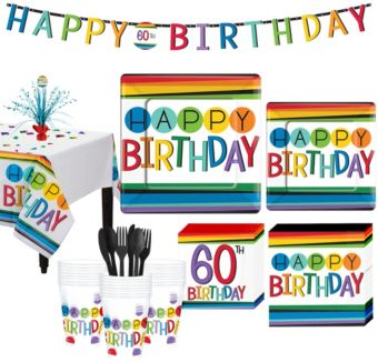 Rainbow 60th Birthday Party Kit for 32 Guests
