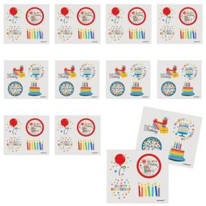 Rainbow Dot & Chevron Birthday Tattoos 48ct
