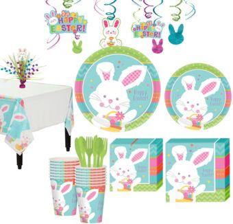 Hippity Hop Easter Bunny Tableware Kit for 16 Guests