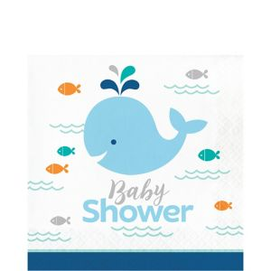 Blue Baby Whale Baby Shower Lunch Napkins 16ct