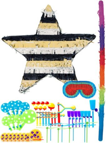 Foil Black, Gold & Silver Star Pinata Kit with Favors