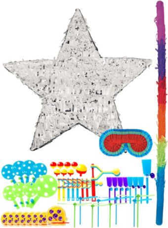 Foil Silver Star Pinata Kit with Favors