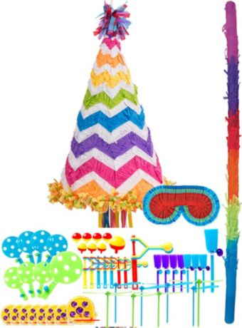 Bright Rainbow Chevron Party Hat Pinata Kit with Favors