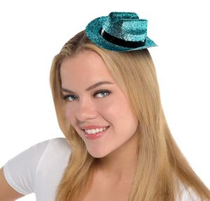 Light Blue Glitter Mini Cowboy Hat