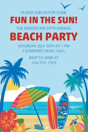 Custom Sun and Surf Beach Invitation