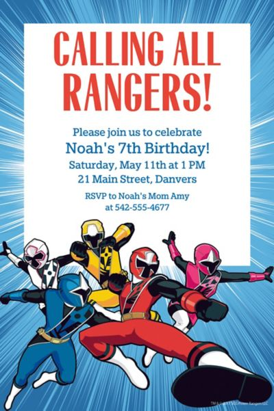 custom power rangers ninja steel invitations