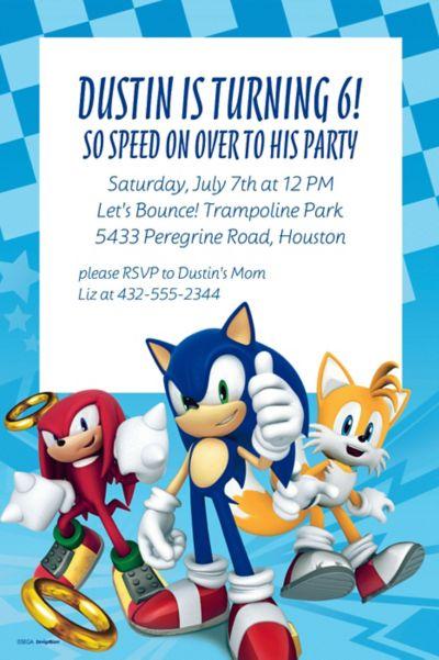 Custom Sonic The Hedgehog Invitations Party City