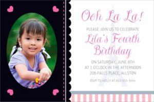 Custom Pink Paris Party Photo Invitation