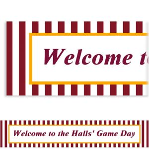 Custom Maroon and Yellow Stripes Banner