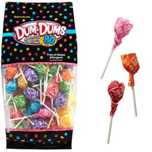 Rainbow Dum Dums Lollipops 80pc