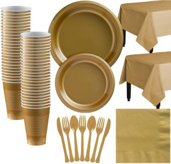Gold Plastic Tableware Kit for 50 Guests