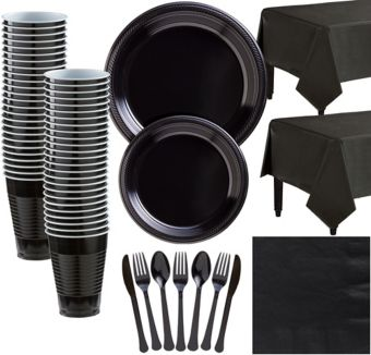 Black Plastic Tableware Kit for 50 Guests