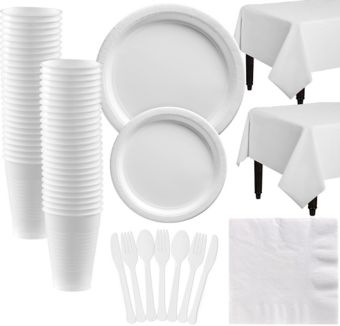 White Paper Tableware Kit for 50 Guests