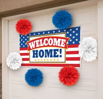 patriotic welcome home banner decorating kit party city ForPatriotic Welcome Home Decorations