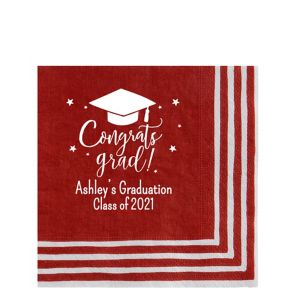 Personalized Graduation Striped Border Lunch Napkins