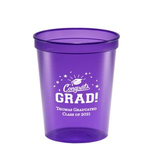 Personalized Graduation Translucent Plastic Stadium Cups 16oz