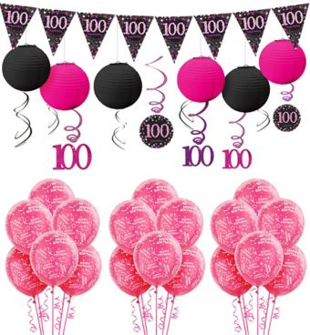 100th Birthday Pink Sparkling Celebration Decorating Kit