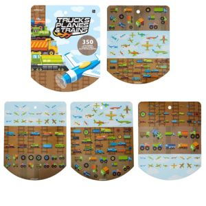 Jumbo Trucks, Planes & Trains Sticker Book 8 Sheets