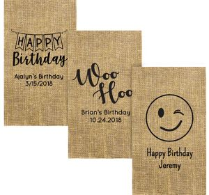 Personalized Birthday Burlap Print Guest Towels