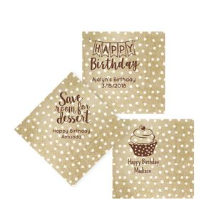 Personalized Birthday Small Dots Beverage Napkins
