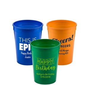 Personalized Birthday Plastic Stadium Cups 12oz