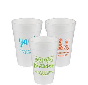Personalized Birthday Foam Cups 16oz