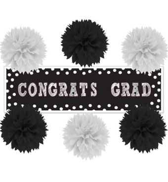 Black & White Graduation Wall Decorating Kit