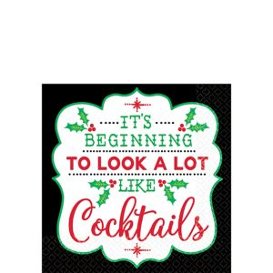 Cocktail Christmas Beverage Napkins 16ct
