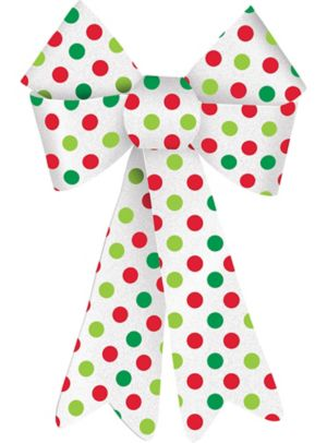 Glitter Green & Red Polka Dot Bow