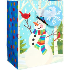 Mini Colorful Smiling Snowman Gift Bag