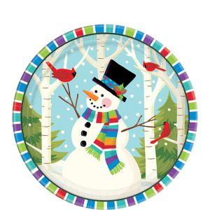 Colorful Smiling Snowman Dessert Plates 60ct