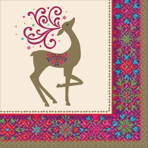 Whimsical Winter Deer Dinner Napkins 36ct