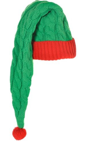 Long Cable-Knit Elf Hat