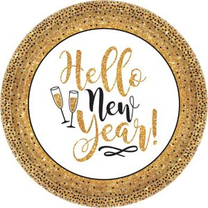 Gold Glitter New Year's Dinner Plates 18ct
